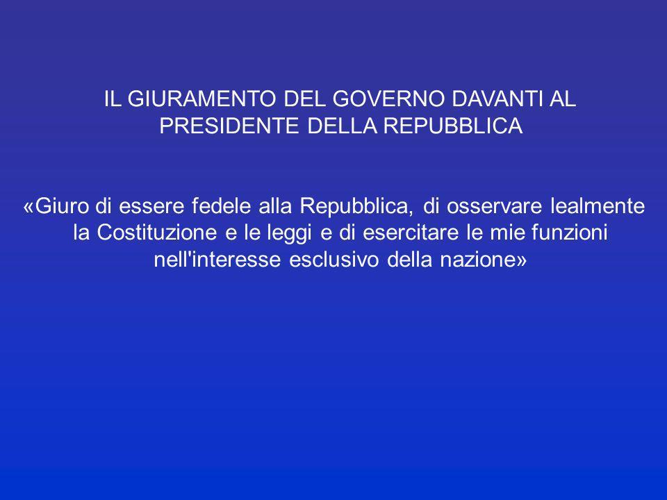 IL GIURAMENTO DEL GOVERNO DAVANTI AL PRESIDENTE DELLA REPUBBLICA
