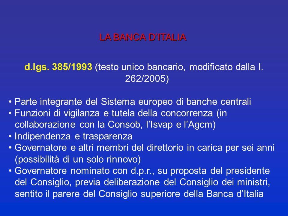 d.lgs. 385/1993 (testo unico bancario, modificato dalla l. 262/2005)