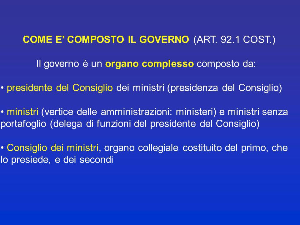 COME E' COMPOSTO IL GOVERNO (ART. 92.1 COST.)