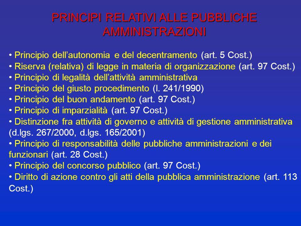 PRINCIPI RELATIVI ALLE PUBBLICHE AMMINISTRAZIONI