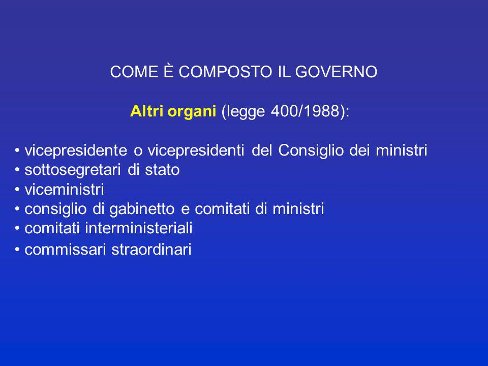 COME È COMPOSTO IL GOVERNO Altri organi (legge 400/1988):