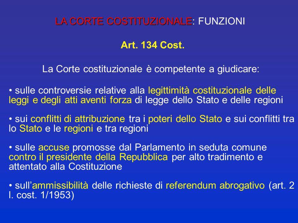 LA CORTE COSTITUZIONALE: FUNZIONI Art. 134 Cost.