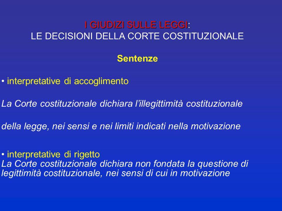 LE DECISIONI DELLA CORTE COSTITUZIONALE