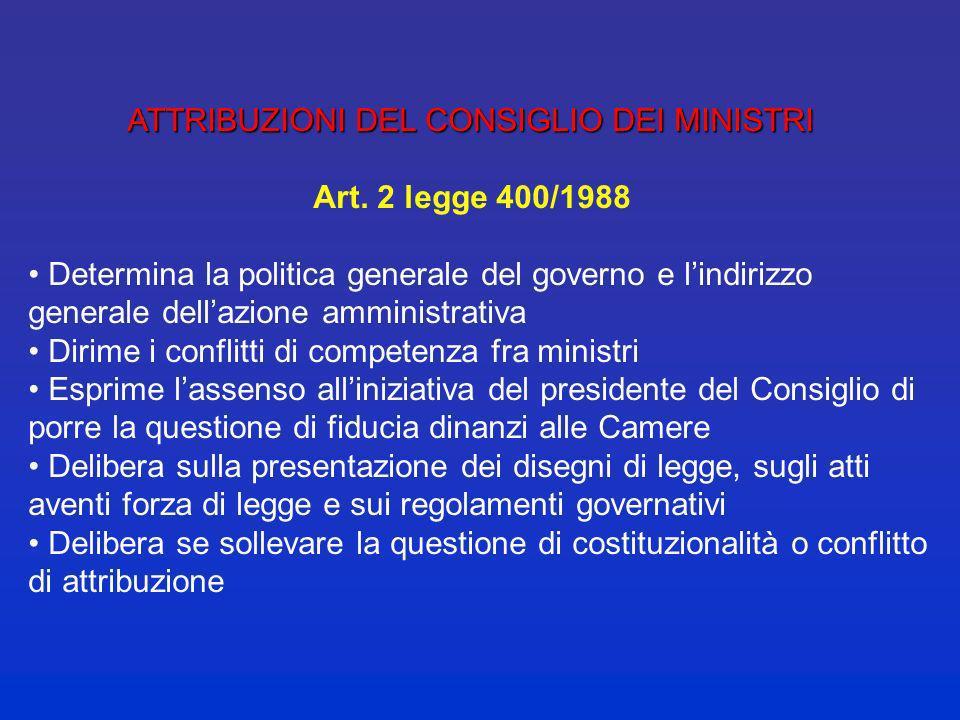 ATTRIBUZIONI DEL CONSIGLIO DEI MINISTRI