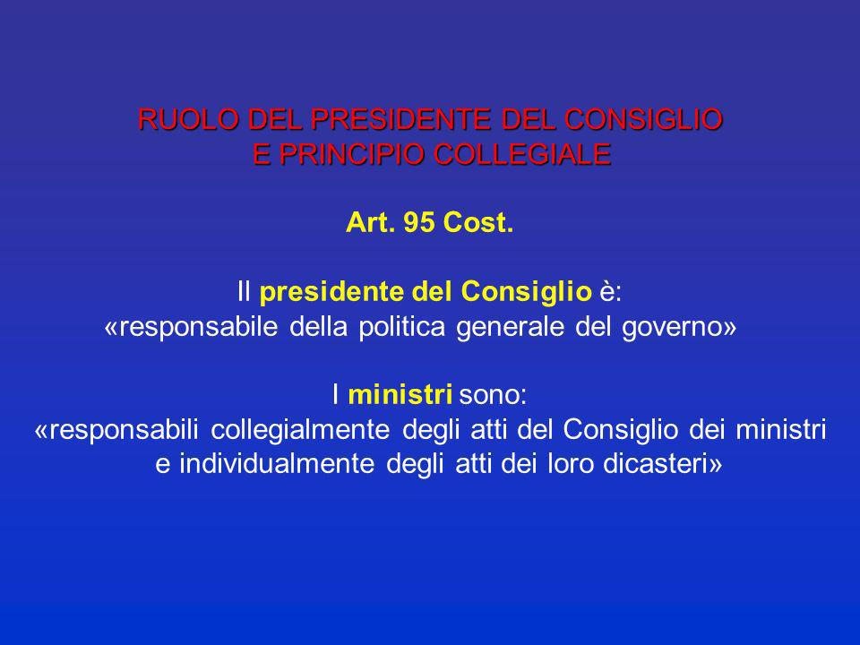 RUOLO DEL PRESIDENTE DEL CONSIGLIO E PRINCIPIO COLLEGIALE