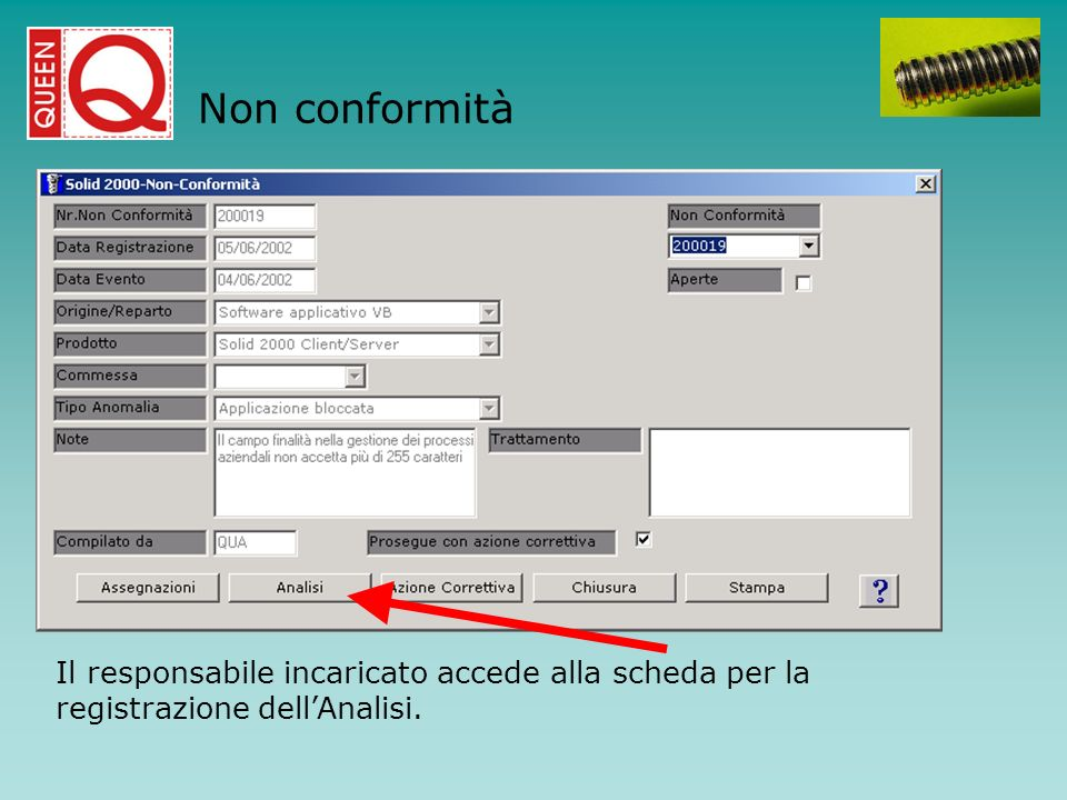 Non conformità Il responsabile incaricato accede alla scheda per la registrazione dell'Analisi.
