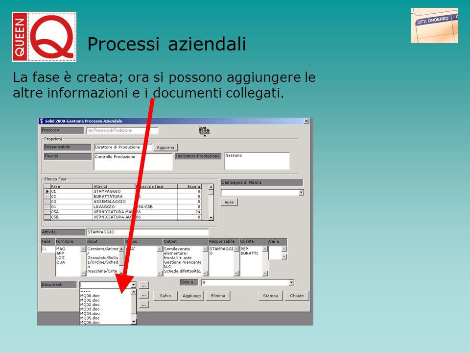 Processi aziendaliLa fase è creata; ora si possono aggiungere le altre informazioni e i documenti collegati.