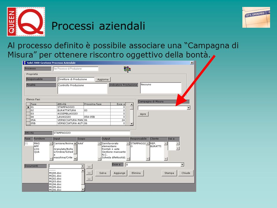 Processi aziendaliAl processo definito è possibile associare una Campagna di Misura per ottenere riscontro oggettivo della bontà.