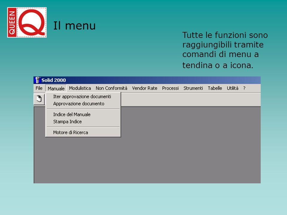 Il menu Tutte le funzioni sono raggiungibili tramite comandi di menu a