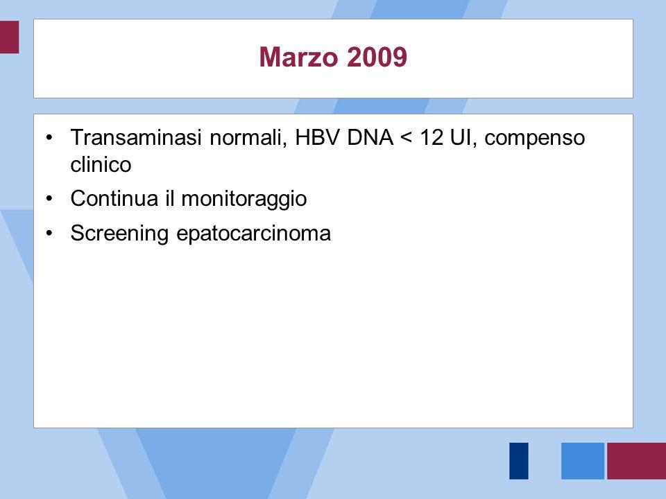 Marzo 2009 Transaminasi normali, HBV DNA < 12 UI, compenso clinico