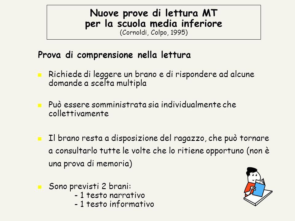 Nuove prove di lettura MT per la scuola media inferiore (Cornoldi, Colpo, 1995)