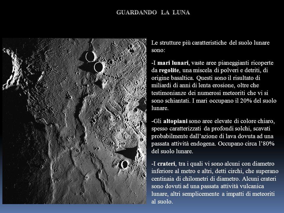 GUARDANDO LA LUNALe strutture più caratteristiche del suolo lunare sono: