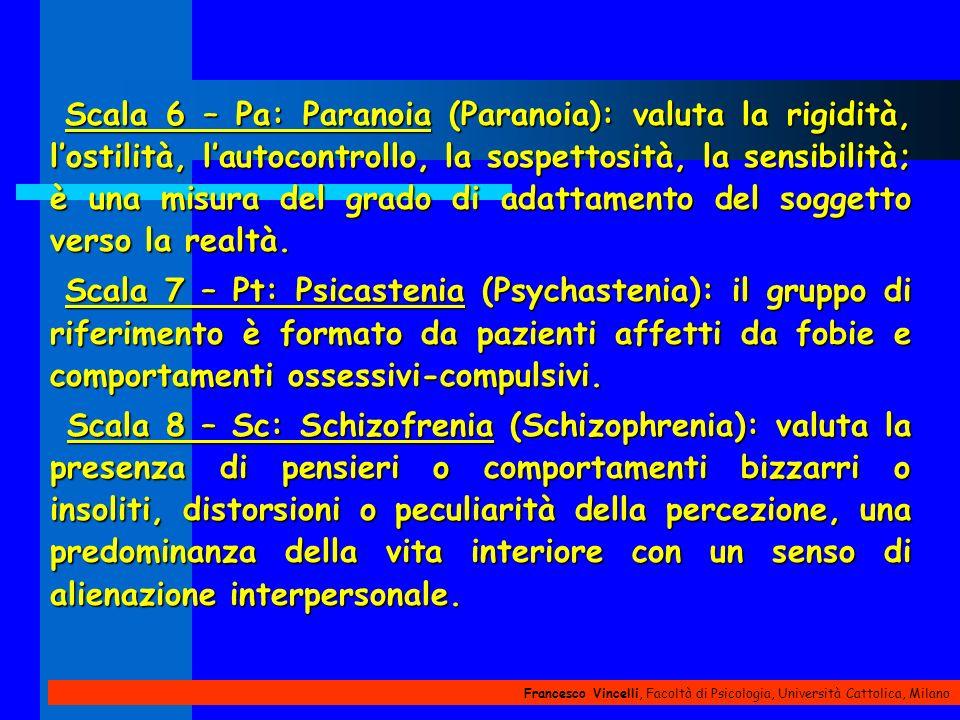 Scala 6 – Pa: Paranoia (Paranoia): valuta la rigidità, l'ostilità, l'autocontrollo, la sospettosità, la sensibilità; è una misura del grado di adattamento del soggetto verso la realtà.
