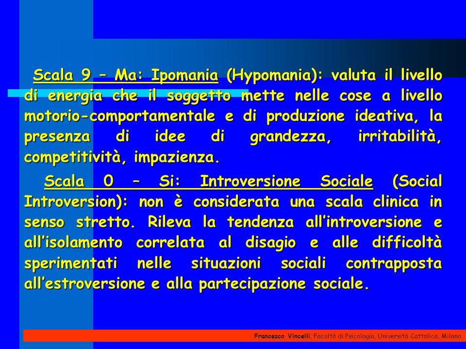 Scala 9 – Ma: Ipomania (Hypomania): valuta il livello di energia che il soggetto mette nelle cose a livello motorio-comportamentale e di produzione ideativa, la presenza di idee di grandezza, irritabilità, competitività, impazienza.