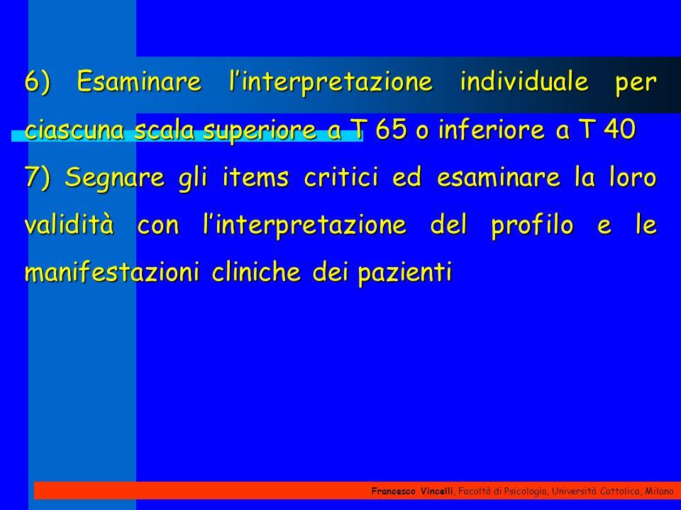 6) Esaminare l'interpretazione individuale per ciascuna scala superiore a T 65 o inferiore a T 40