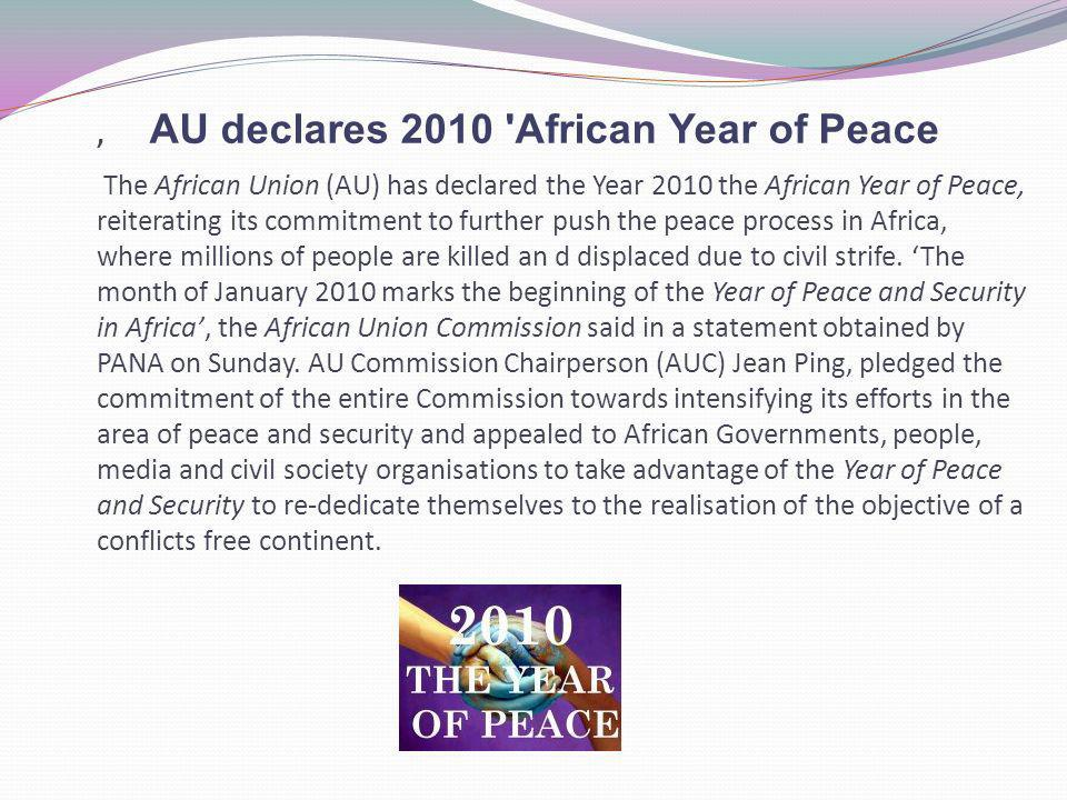 AU declares 2010 African Year of Peace