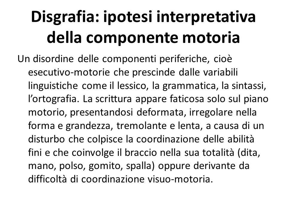 Disgrafia: ipotesi interpretativa della componente motoria