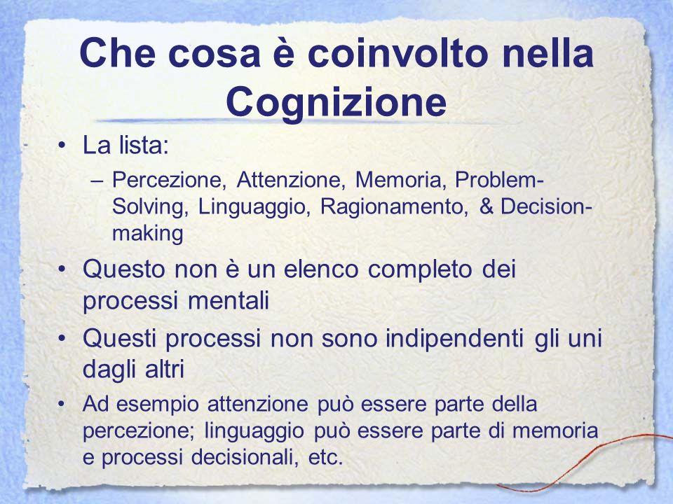 Che cosa è coinvolto nella Cognizione