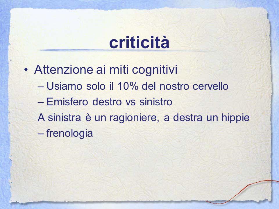 criticità Attenzione ai miti cognitivi