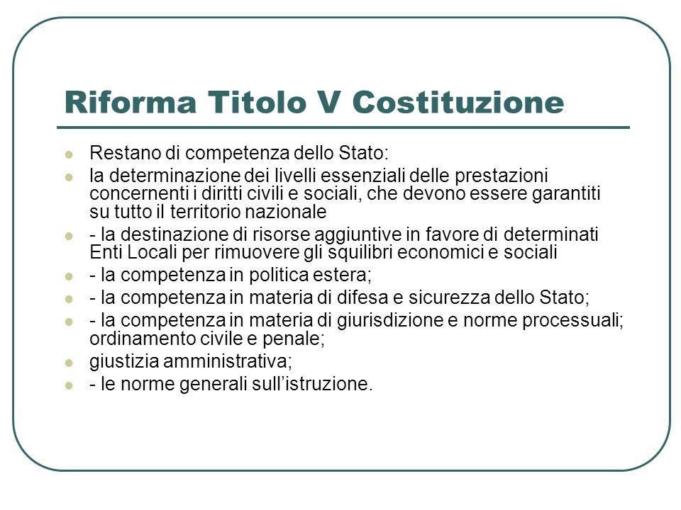 Riforma Titolo V Costituzione