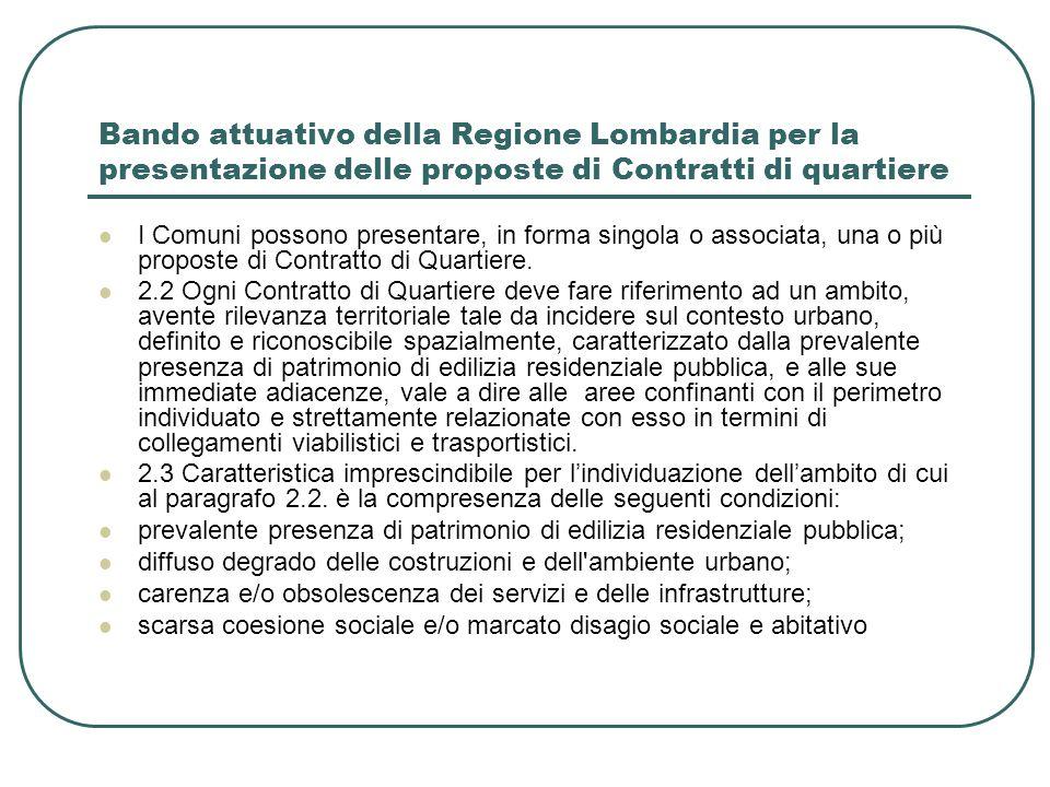 Bando attuativo della Regione Lombardia per la presentazione delle proposte di Contratti di quartiere