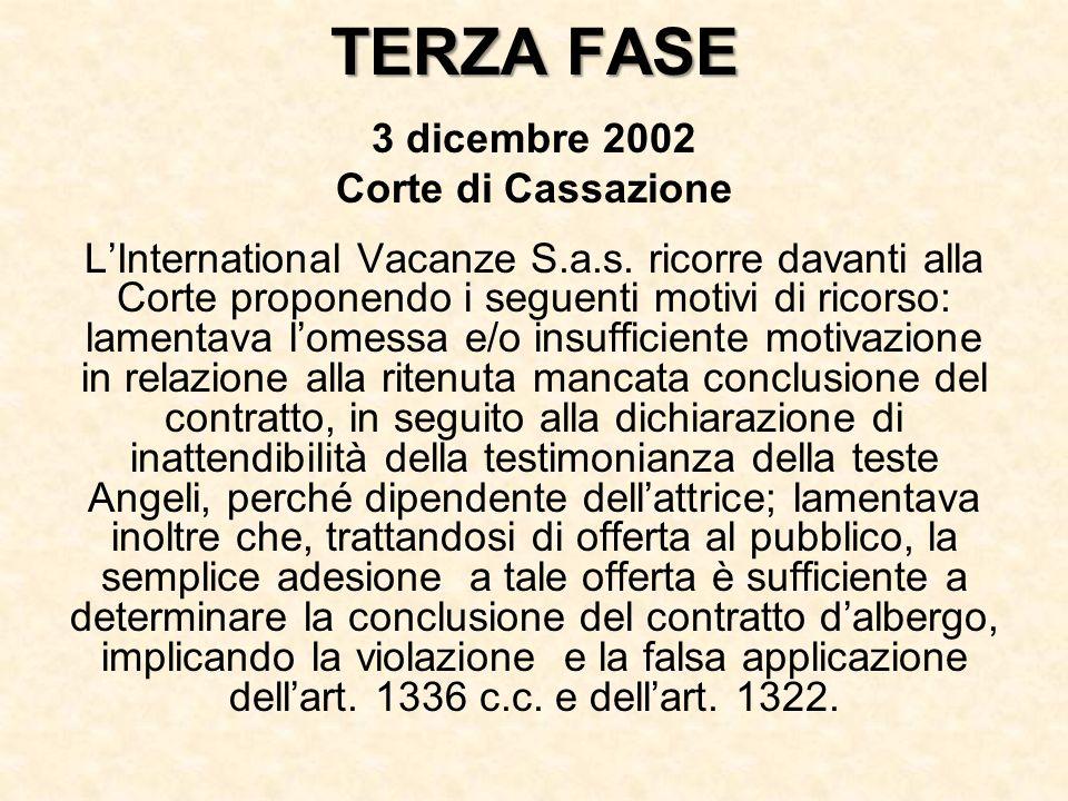 TERZA FASE 3 dicembre 2002 Corte di Cassazione