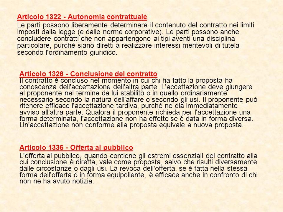 Articolo 1322 - Autonomia contrattuale
