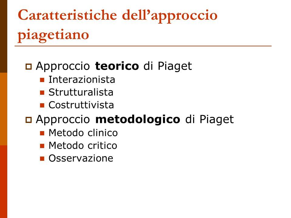 Caratteristiche dell'approccio piagetiano