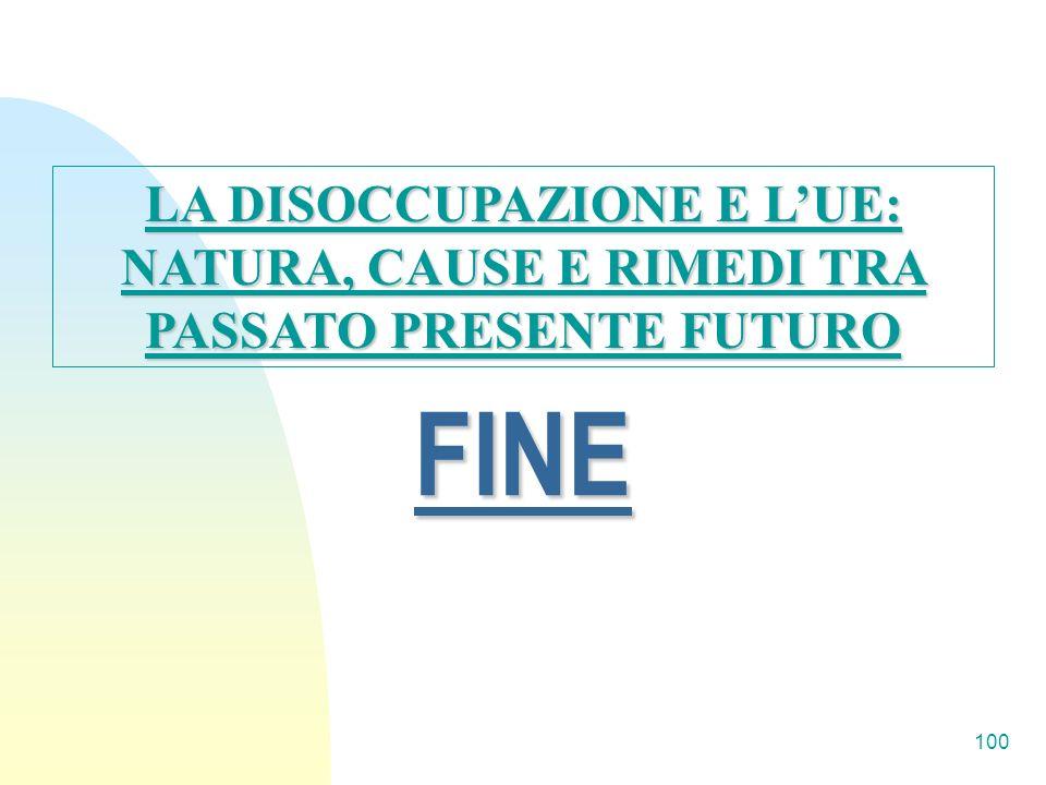 LA DISOCCUPAZIONE E L'UE: NATURA, CAUSE E RIMEDI TRA PASSATO PRESENTE FUTURO