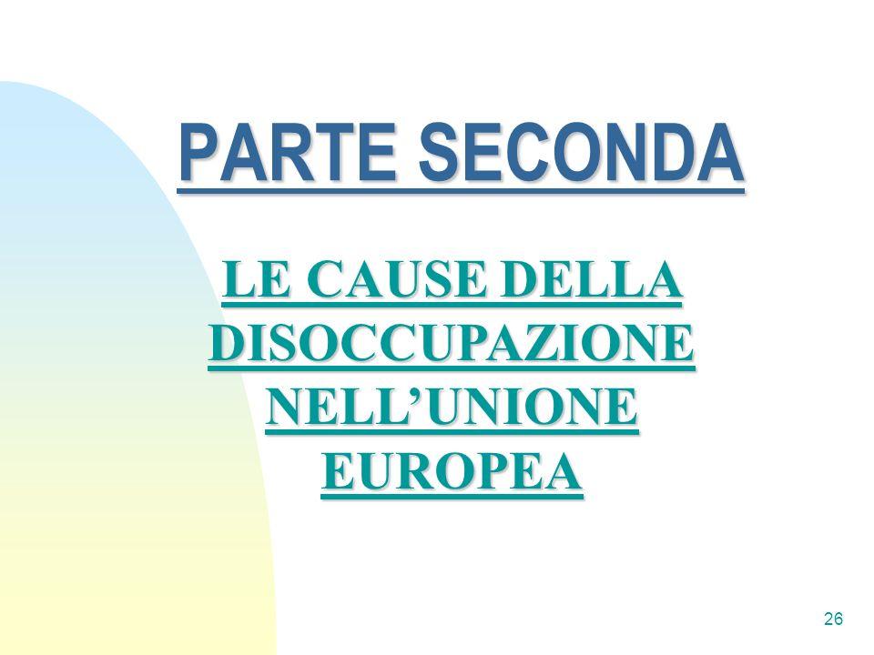 LE CAUSE DELLA DISOCCUPAZIONE NELL'UNIONE EUROPEA