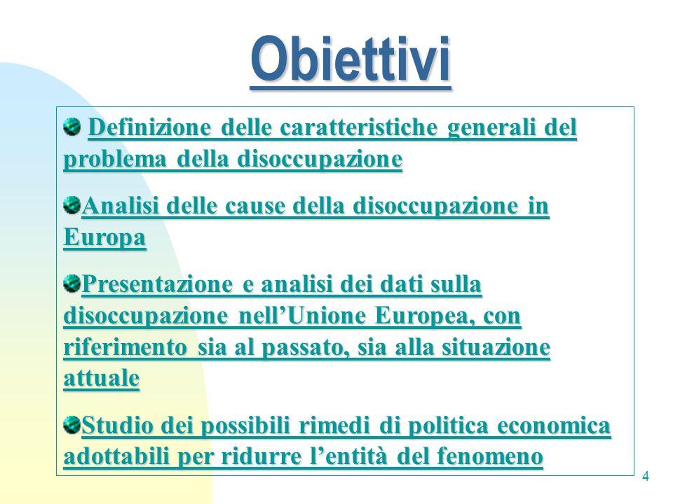Obiettivi Definizione delle caratteristiche generali del problema della disoccupazione. Analisi delle cause della disoccupazione in Europa.