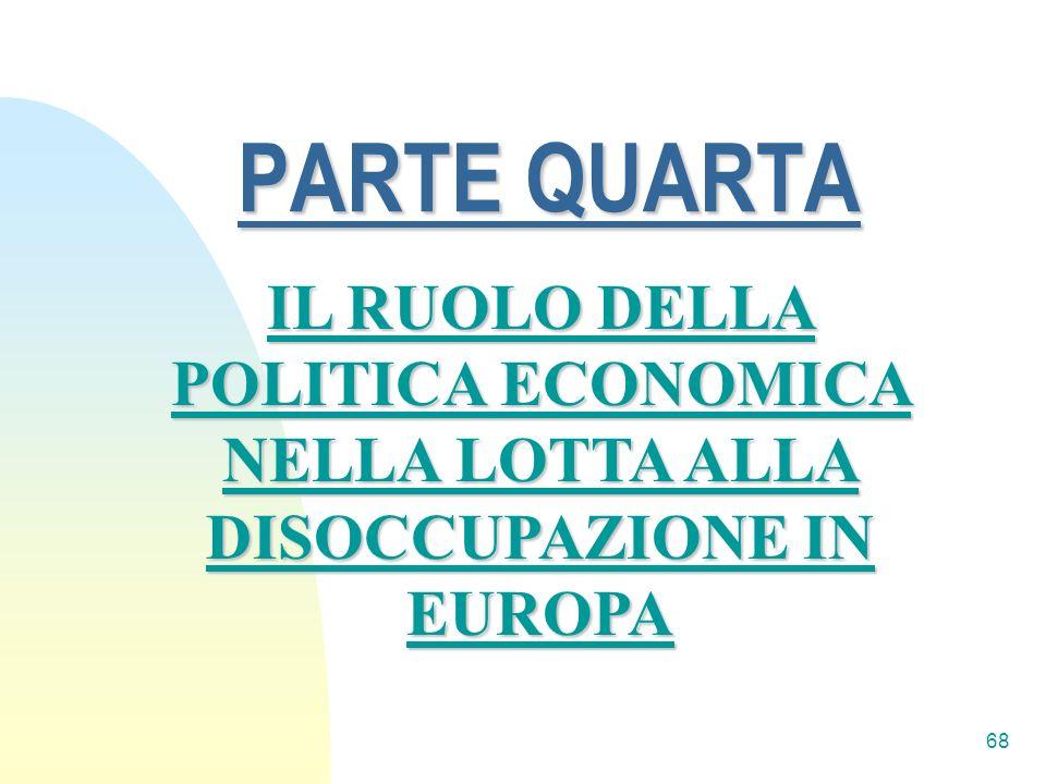 PARTE QUARTA IL RUOLO DELLA POLITICA ECONOMICA NELLA LOTTA ALLA DISOCCUPAZIONE IN EUROPA