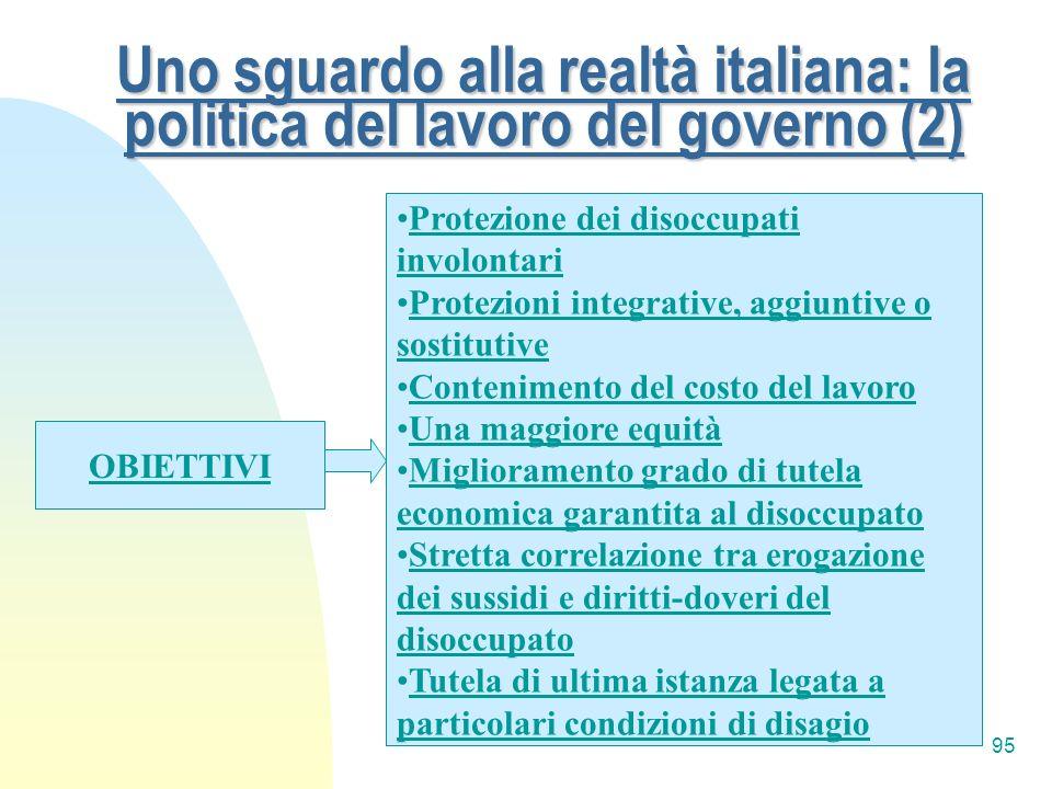 Uno sguardo alla realtà italiana: la politica del lavoro del governo (2)