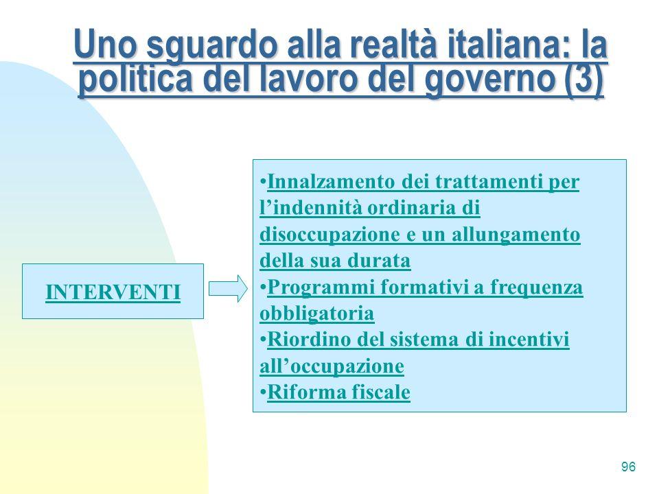 Uno sguardo alla realtà italiana: la politica del lavoro del governo (3)