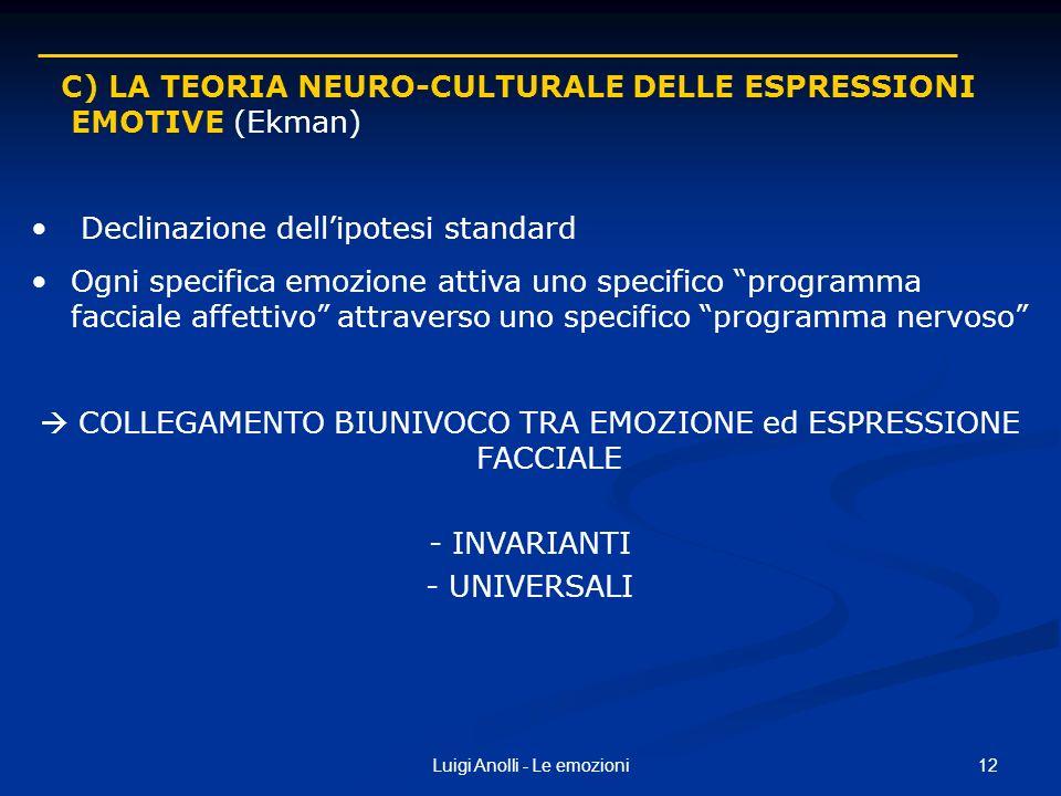 C) LA TEORIA NEURO-CULTURALE DELLE ESPRESSIONI EMOTIVE (Ekman)