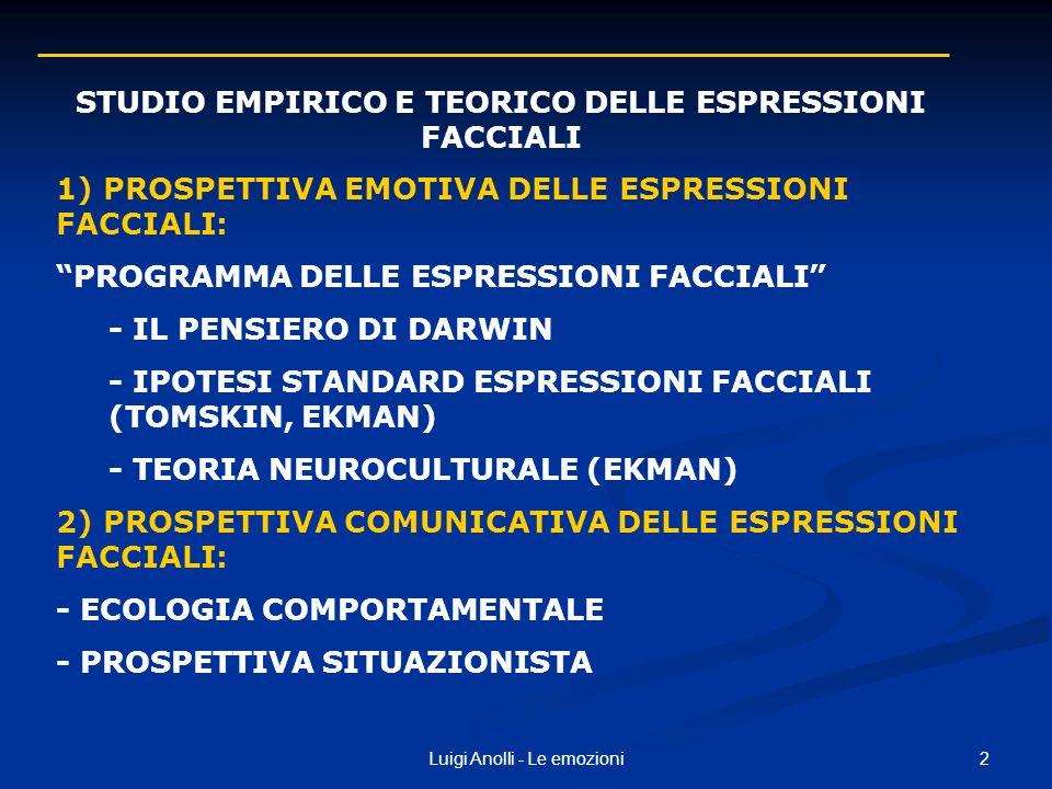 STUDIO EMPIRICO E TEORICO DELLE ESPRESSIONI FACCIALI