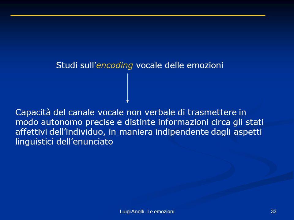Studi sull'encoding vocale delle emozioni
