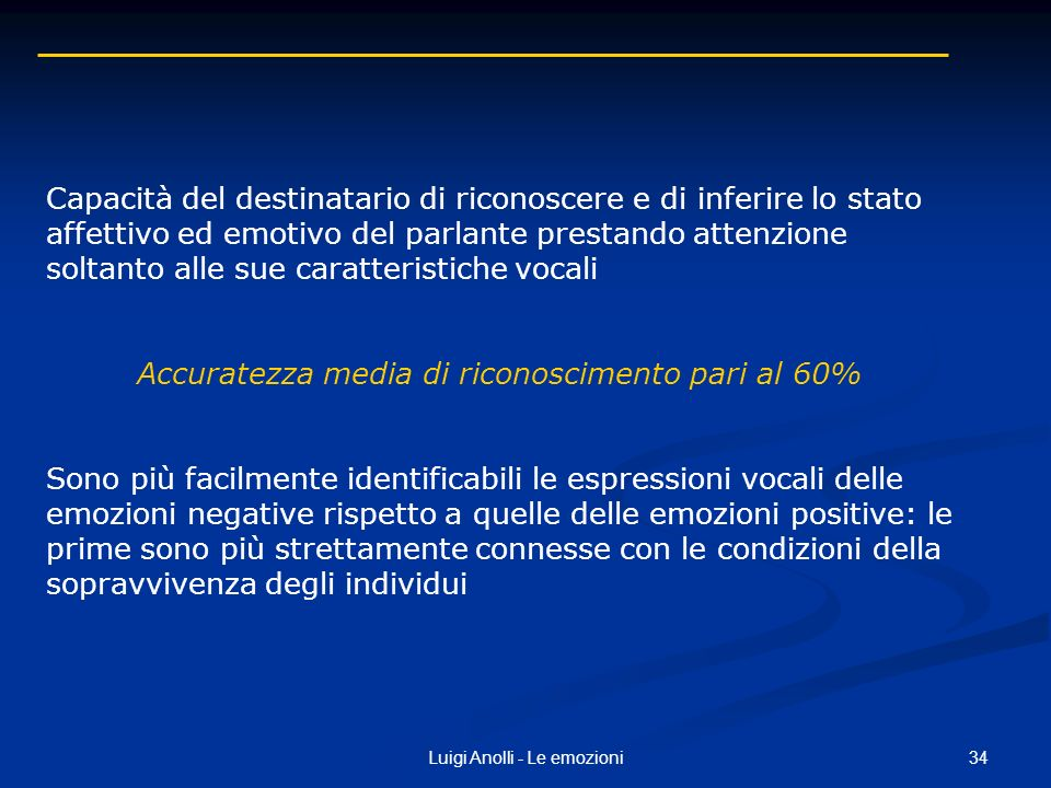 Accuratezza media di riconoscimento pari al 60%