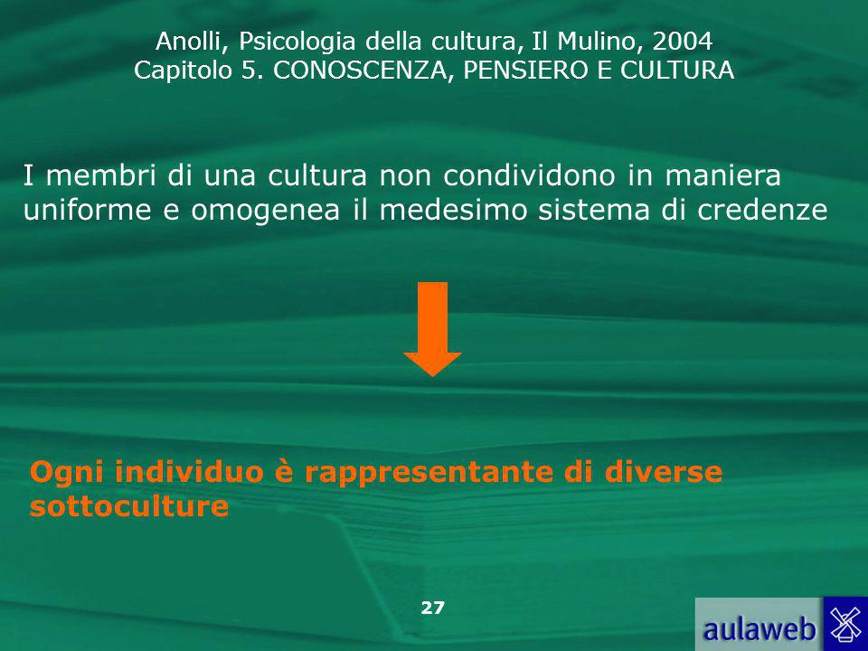 I membri di una cultura non condividono in maniera uniforme e omogenea il medesimo sistema di credenze