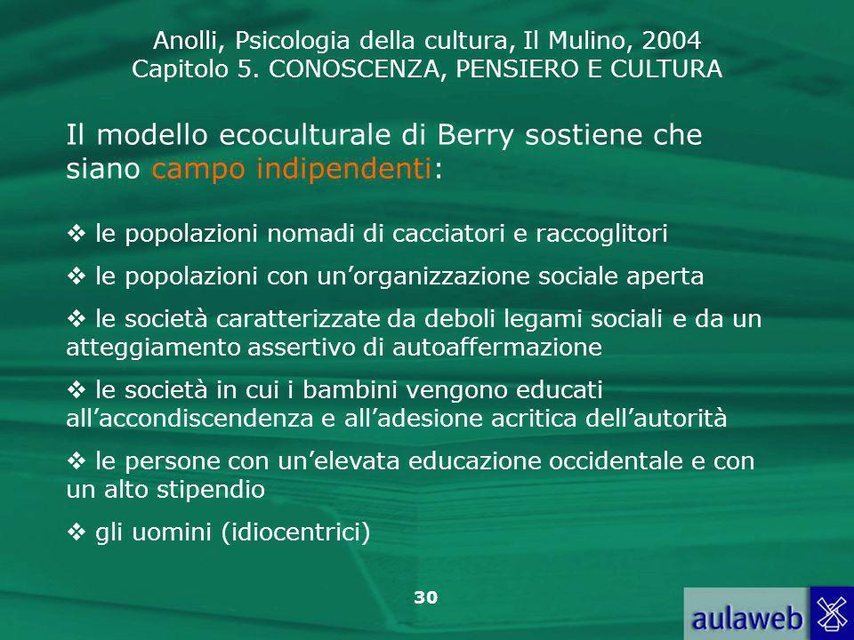 Il modello ecoculturale di Berry sostiene che siano campo indipendenti: