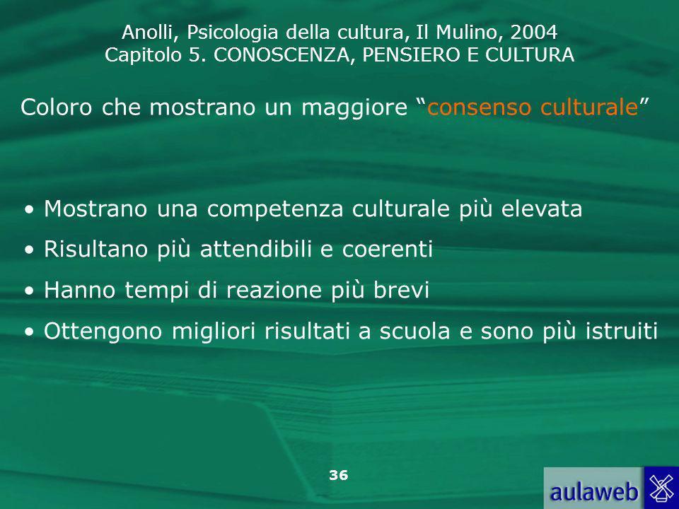 Coloro che mostrano un maggiore consenso culturale
