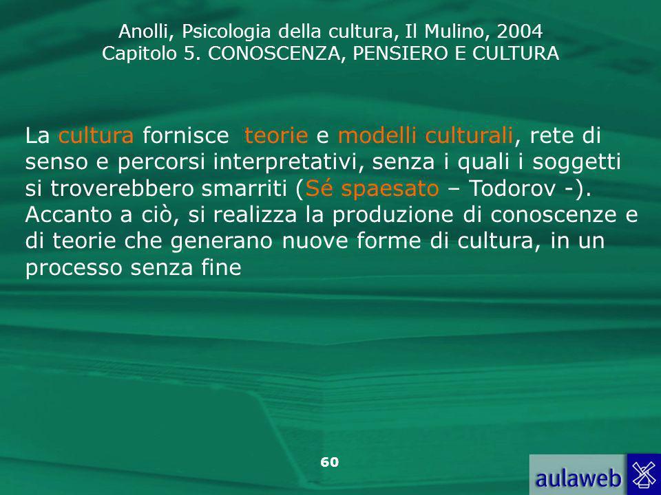 La cultura fornisce teorie e modelli culturali, rete di senso e percorsi interpretativi, senza i quali i soggetti si troverebbero smarriti (Sé spaesato – Todorov -).