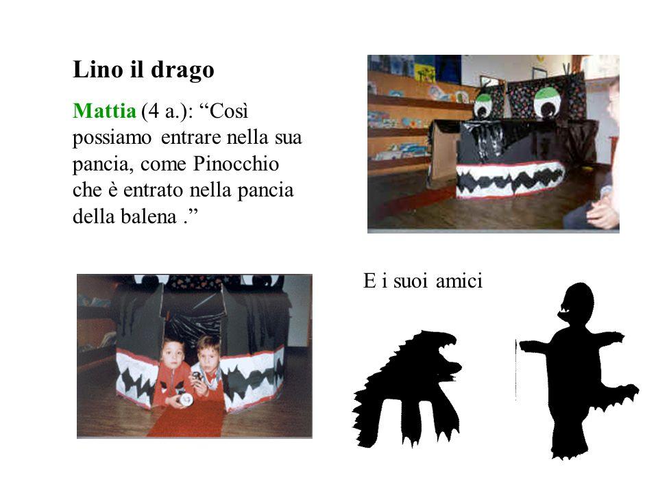 Lino il drago Mattia (4 a.): Così possiamo entrare nella sua pancia, come Pinocchio che è entrato nella pancia della balena .