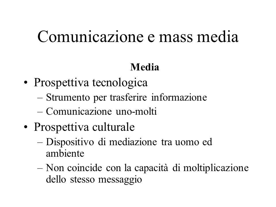 Comunicazione e mass media