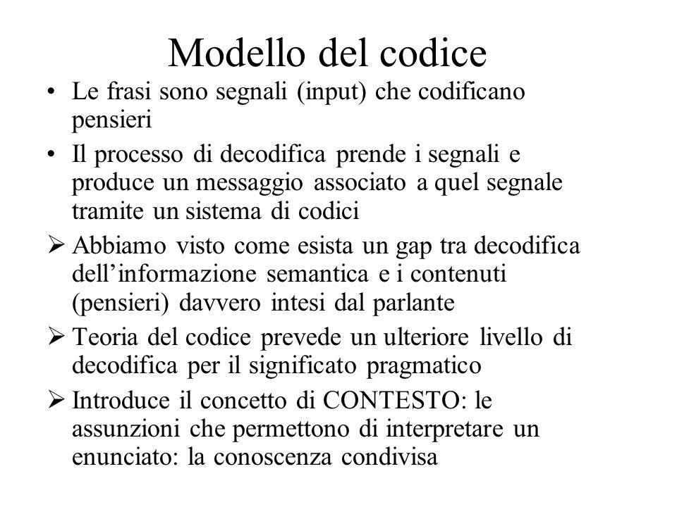 Modello del codice Le frasi sono segnali (input) che codificano pensieri.