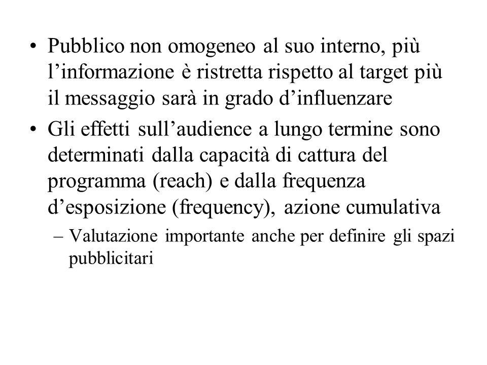 Pubblico non omogeneo al suo interno, più l'informazione è ristretta rispetto al target più il messaggio sarà in grado d'influenzare