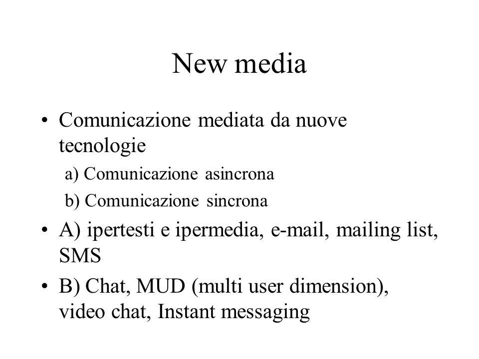 New media Comunicazione mediata da nuove tecnologie