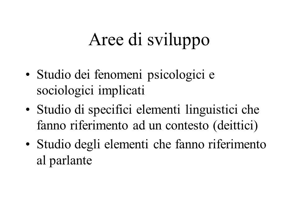 Aree di sviluppo Studio dei fenomeni psicologici e sociologici implicati.