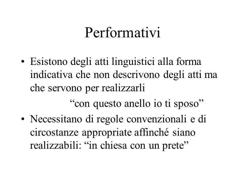 Performativi Esistono degli atti linguistici alla forma indicativa che non descrivono degli atti ma che servono per realizzarli.