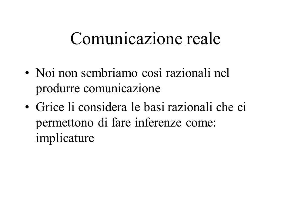 Comunicazione reale Noi non sembriamo così razionali nel produrre comunicazione.